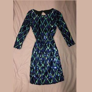 black/ blue sequin dress